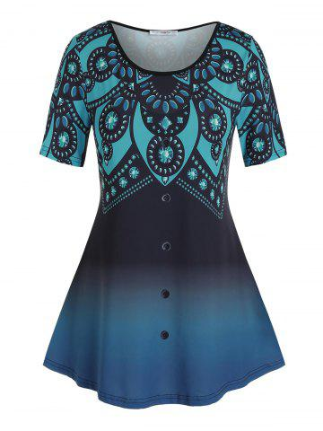 Pus Size Ombre Rhinestone Print Buttoned Tunic Tee - DEEP BLUE - 3X