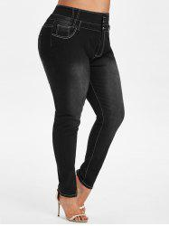 Contrast Stitching High Waisted Plus Size Skinny Jeans -