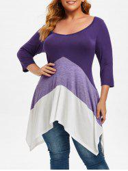 Double-v Handkerchief Colorblock Plus Size Top -