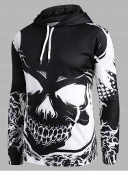 Bicolor Skull Graphic Front Pocket Drawstring Hoodie -