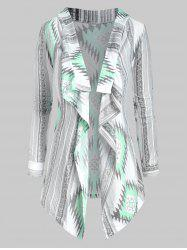 Ethnic Graphic Open Front Draped Tribal Cardigan -