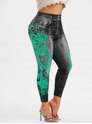 Plus Size 3D Jean Print Ninth Jeggings -