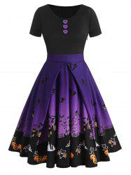 Buttons Halloween Bat Pumpkin Castle Print Dress -