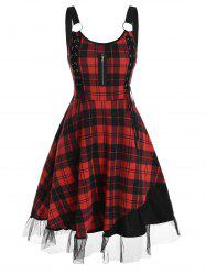 Plaid Lace-up O Ring Tulle Panel Sleeveless Dress -