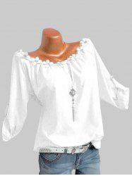 Plus Size Flower Trim Roll Up Sleeve Top -