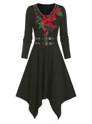 Floral Embroidery Buckle Belted Asymmetrical Dress -