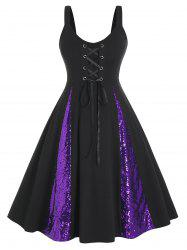 Plus Size Sequined Two Tone Lace-up A Line Dress -