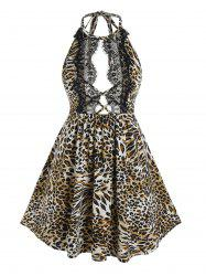 Plus Size Open Back Leopard Print Babydoll Set -