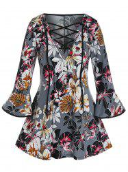 Plus Size Flower Print Lace-up Flare Sleeve Top -