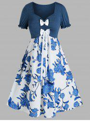 Plus Size Flower Bowknot Ruched Sweetheart Neck Dress -
