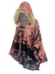 Forest Cat Print Hooded High Low Cape -