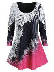 Plus Size Ombre Striped Print Curved Hem Tunic Tee -
