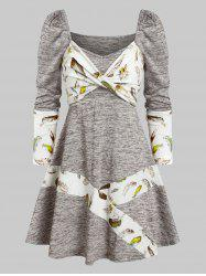 Long Sleeve Feather Print Twist Front Dress -