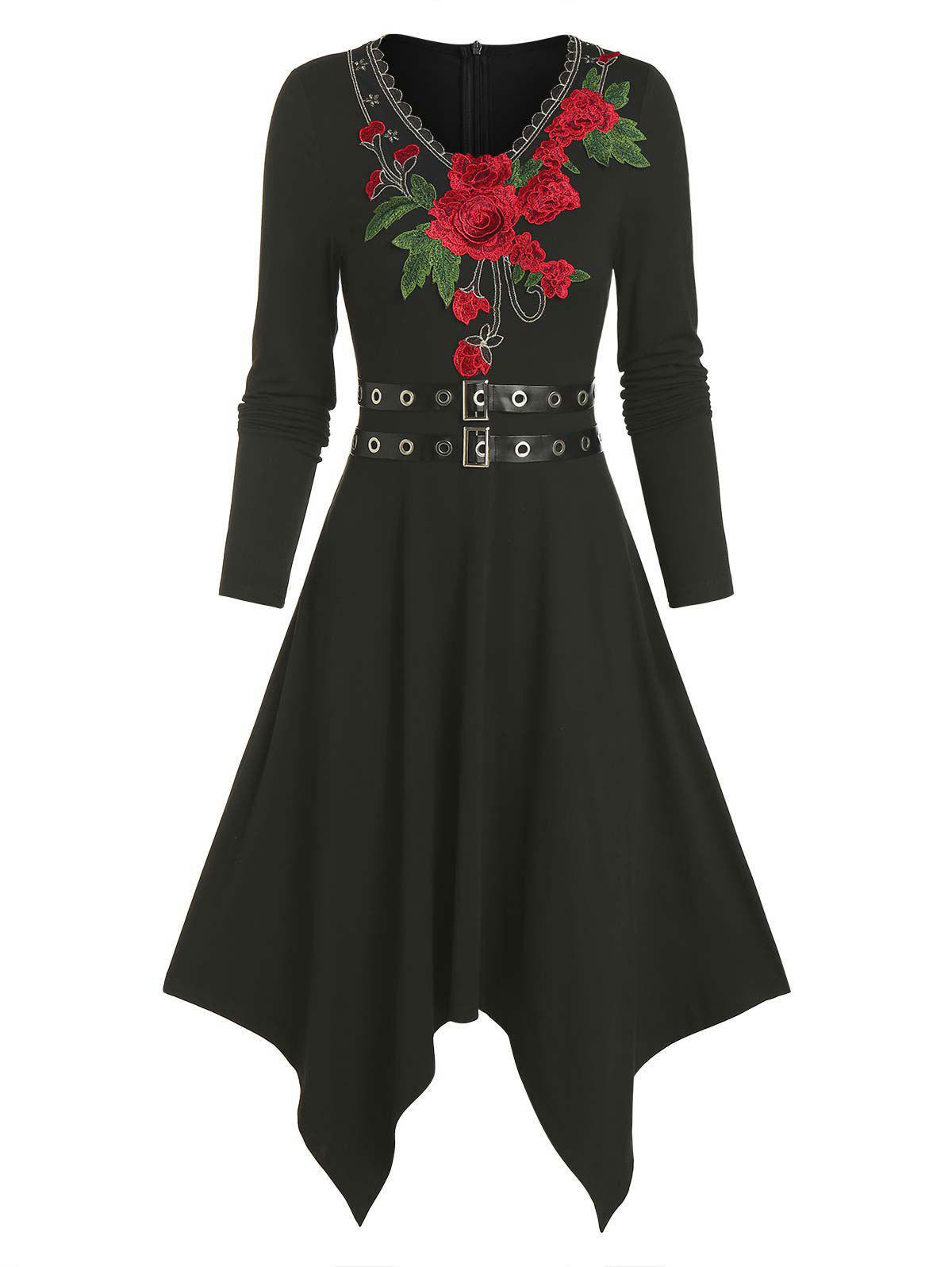 Store Floral Embroidery Buckle Belted Asymmetrical Dress