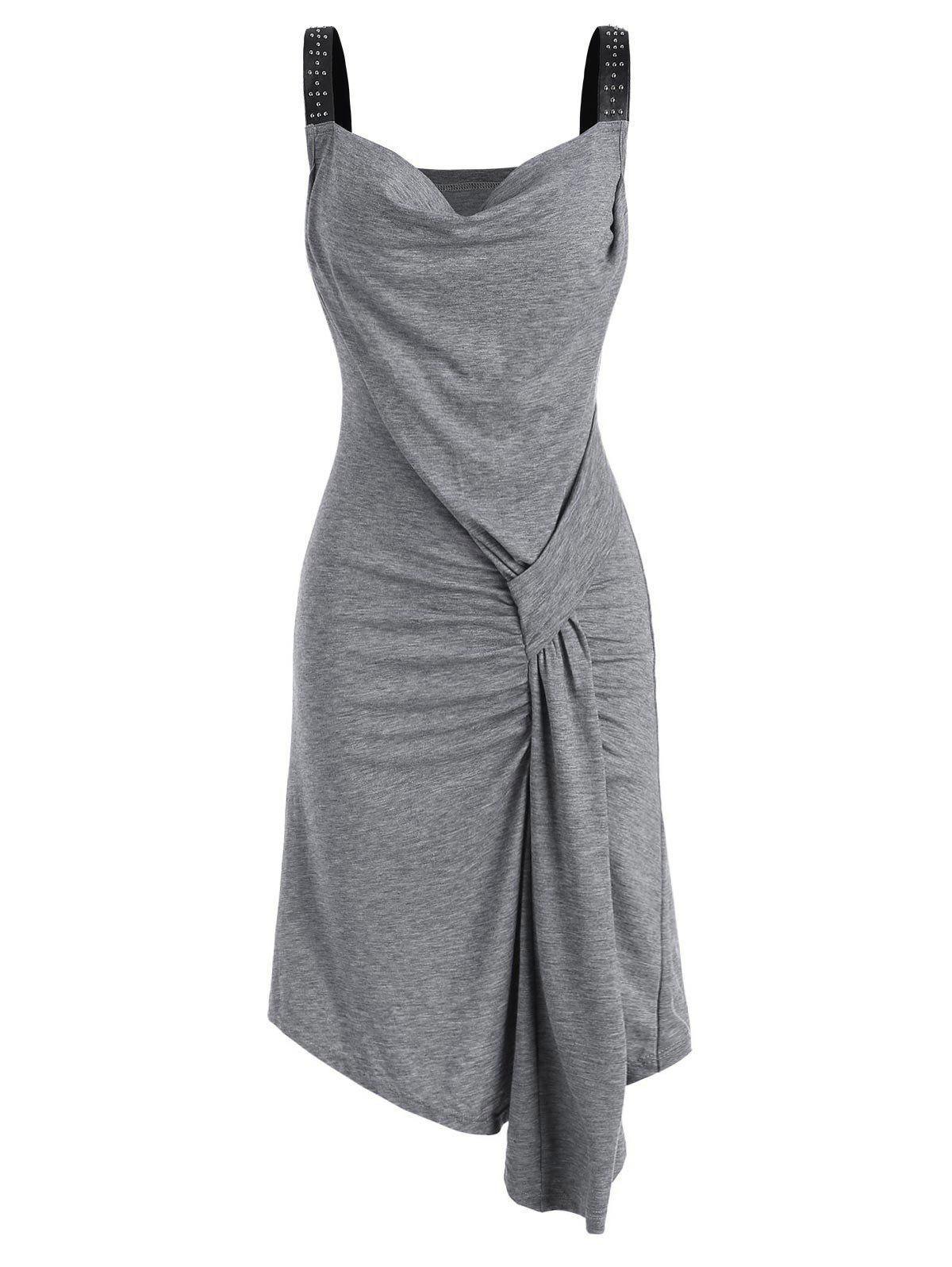 Sale Draped Front Rived Faux Leather Straps Dress