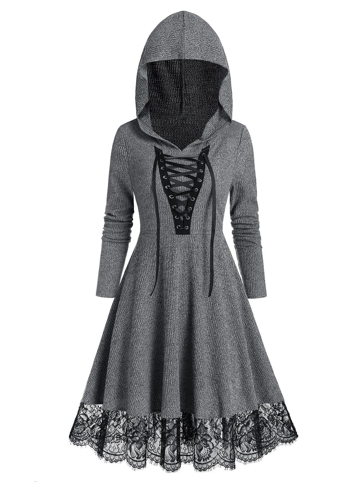 Outfit Lace Up Hooded Lace Hem Long Sleeve Dress