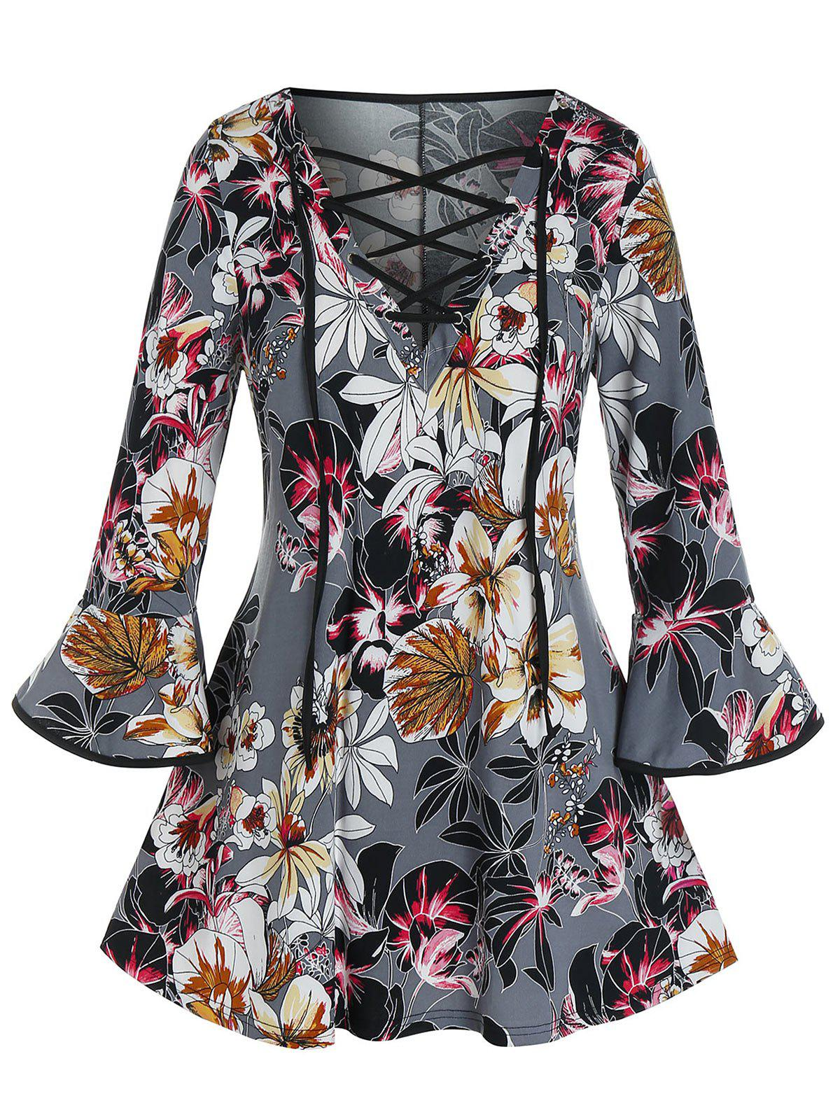 Outfits Plus Size Flower Print Lace-up Flare Sleeve Top
