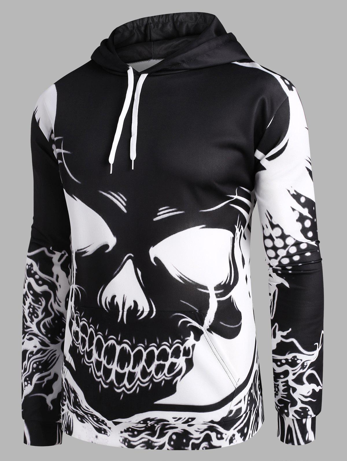 Best Bicolor Skull Graphic Front Pocket Drawstring Hoodie