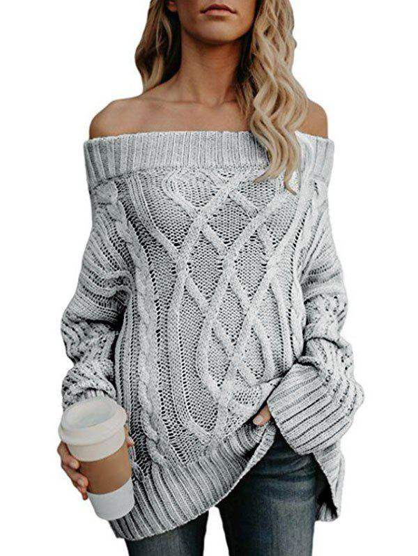 Unique Off The Shoulder Cable Knit Chunky Sweater