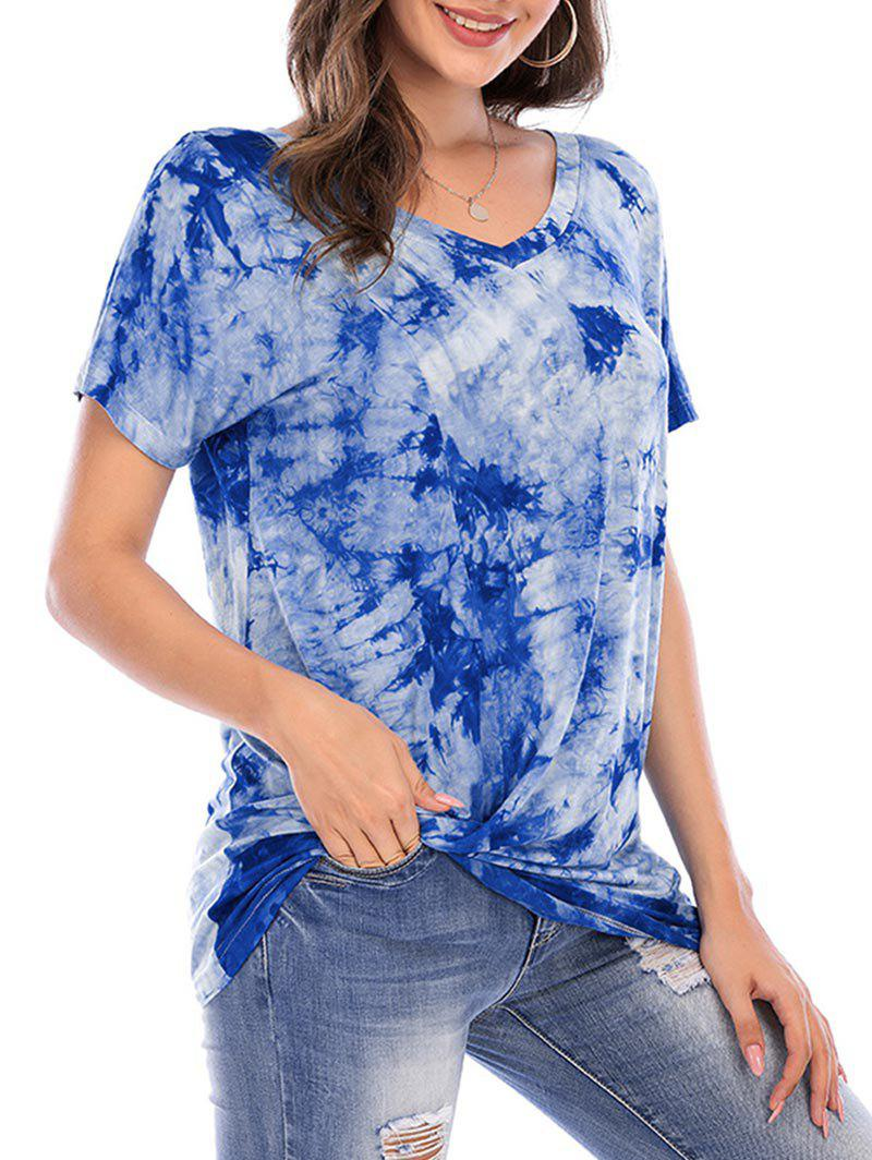 Outfits Tie Dye V Neck Short Sleeve Tee