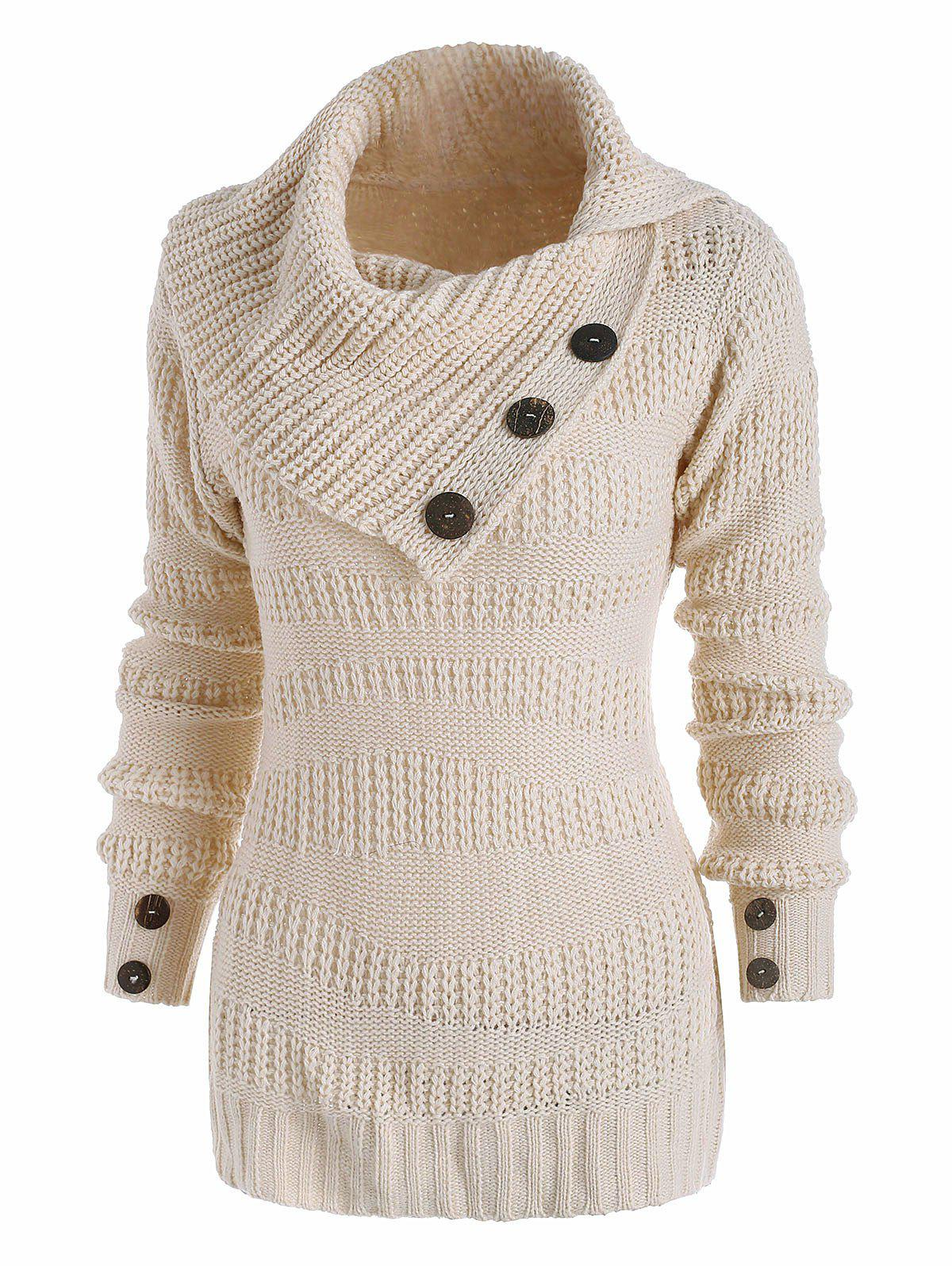 Trendy Mix Yarn Mock Button Irregular Turn Down Collar Sweater