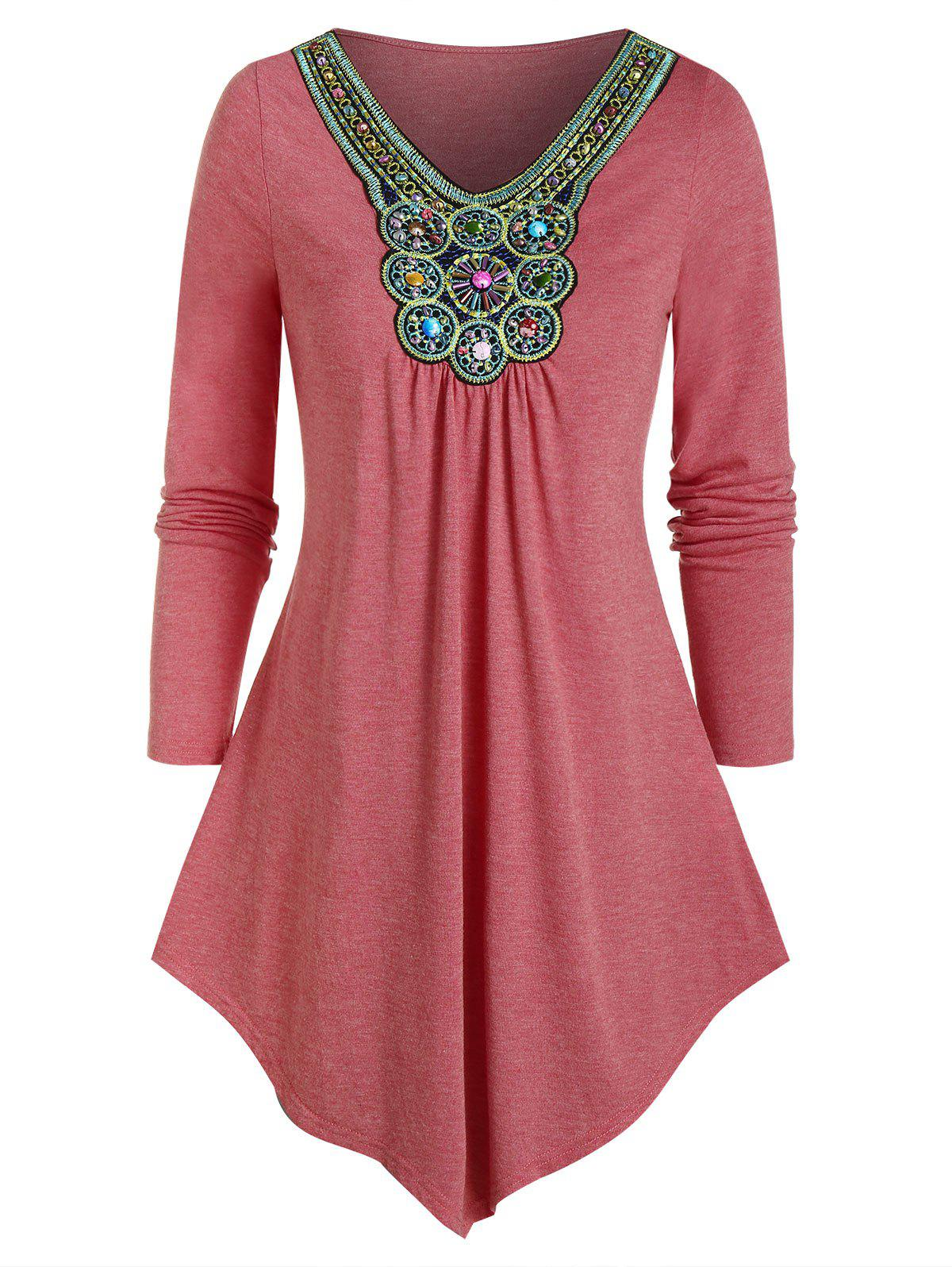 Bohemian Beads Embellished Pleated T-shirt фото