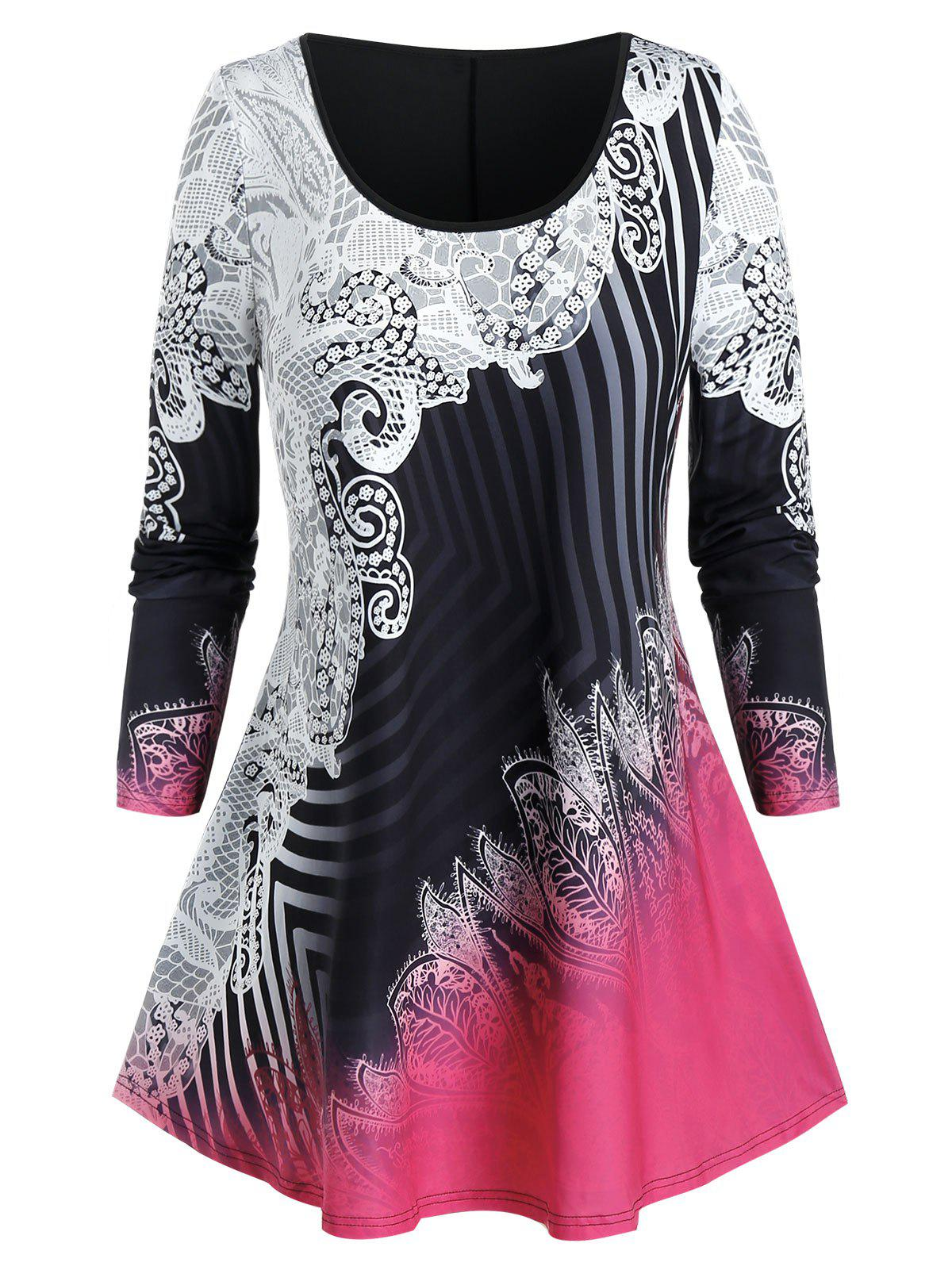 Cheap Plus Size Ombre Striped Print Curved Hem Tunic Tee