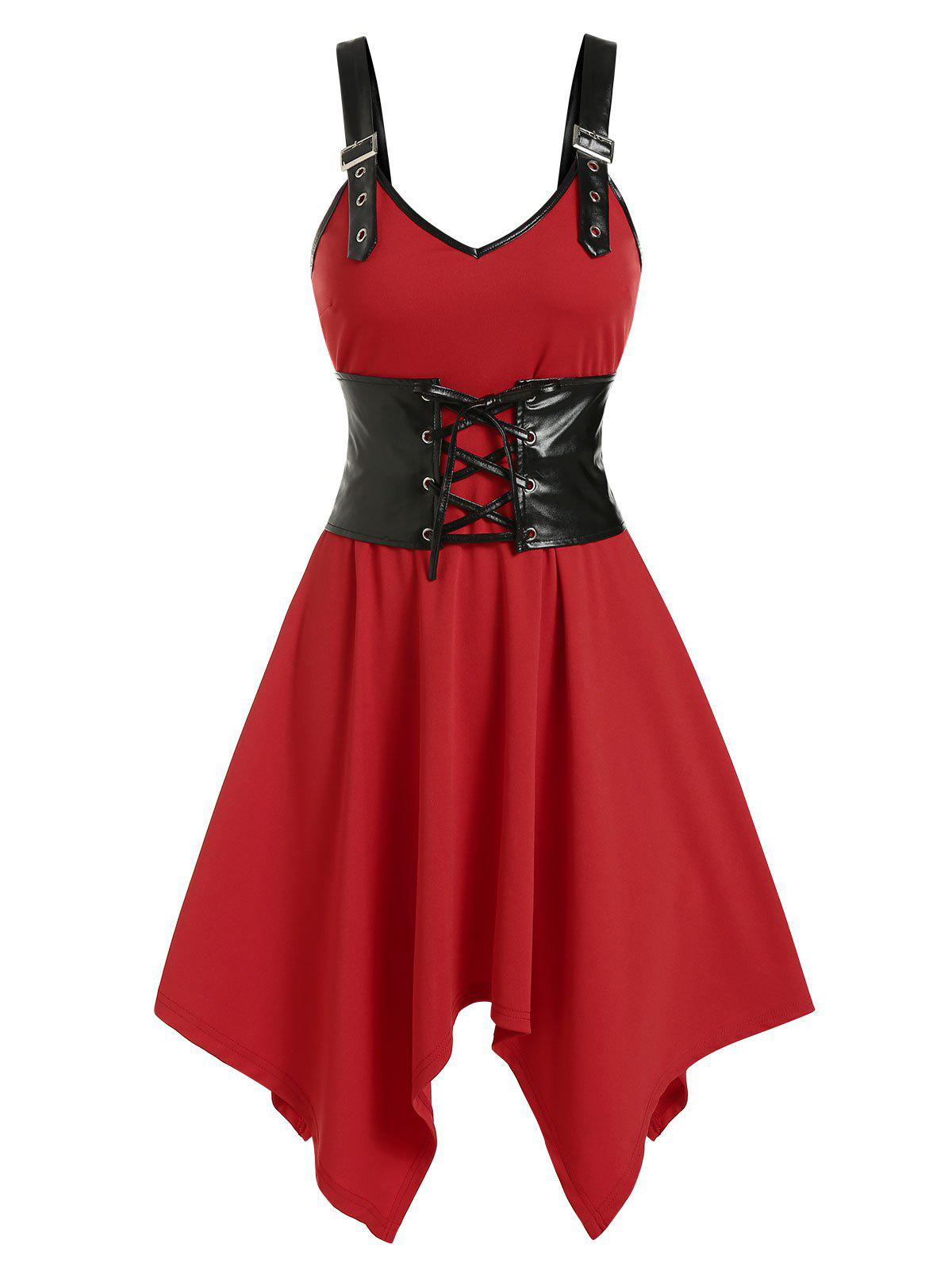 Sale Buckle Strap Cinched Handkerchief Dress
