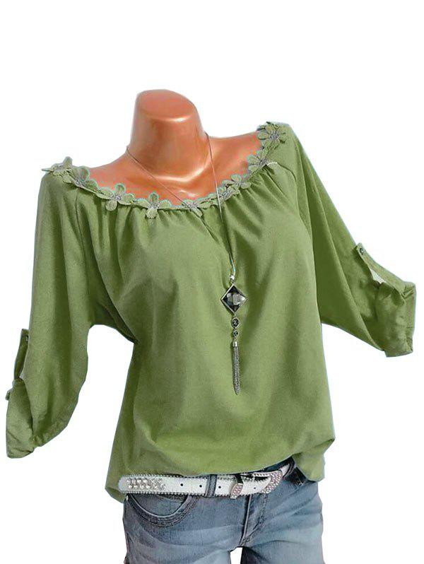 Plus Size Flower Trim Roll Up Sleeve Top фото