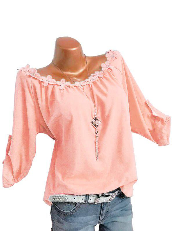 Shops Plus Size Flower Trim Roll Up Sleeve Top