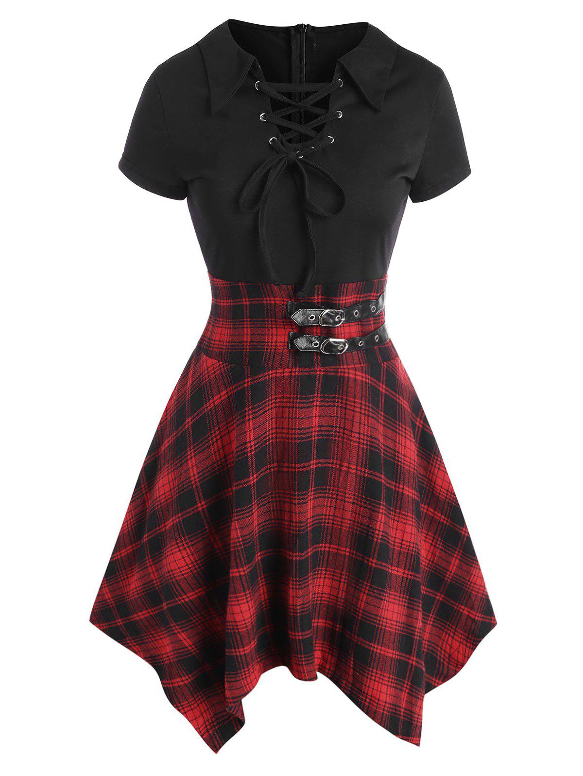 Buy Lace Up Plaid Buckle Embellished Handkerchief Dress