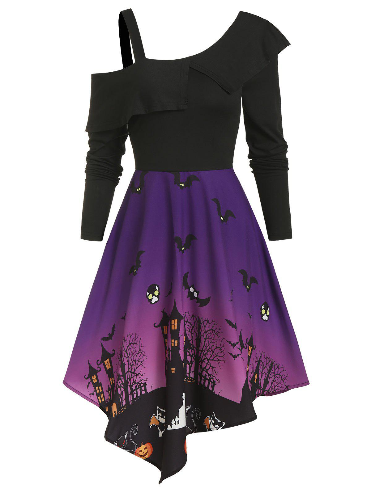 Fashion Halloween Night Bat Pattern Cold Shoulder Asymmetrical Dress