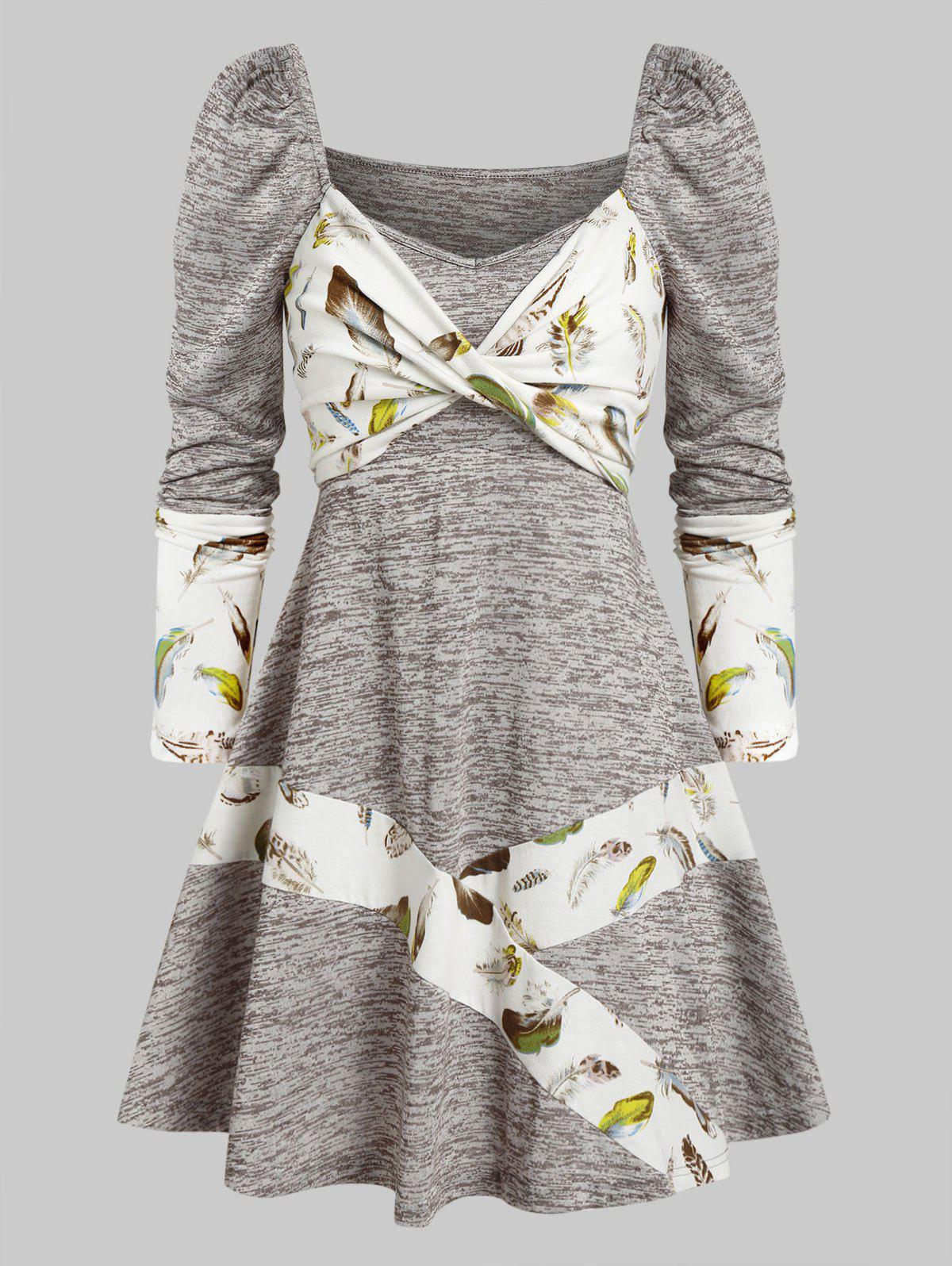 Outfits Long Sleeve Feather Print Twist Front Dress