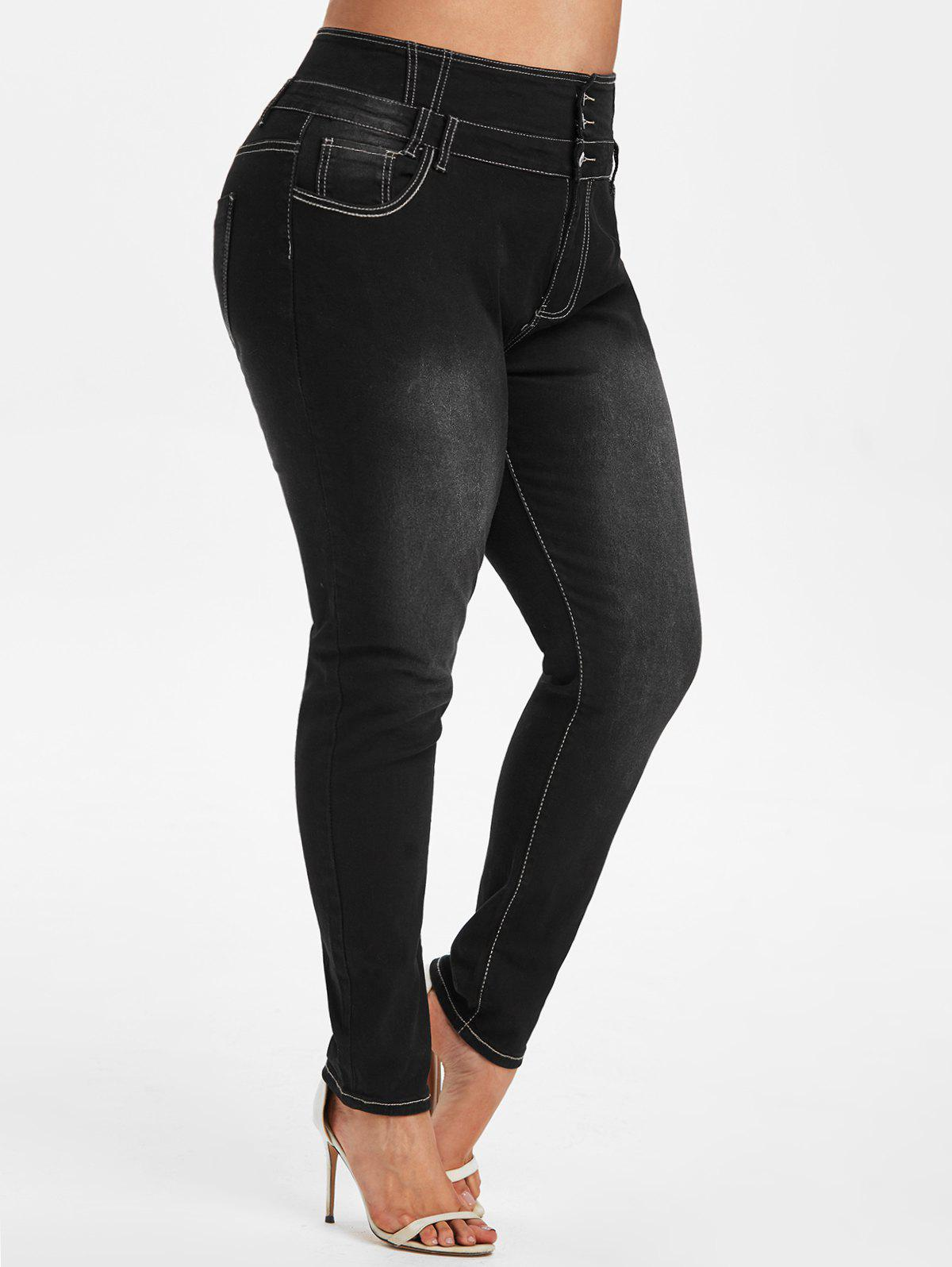 Cheap Contrast Stitching High Waisted Plus Size Skinny Jeans
