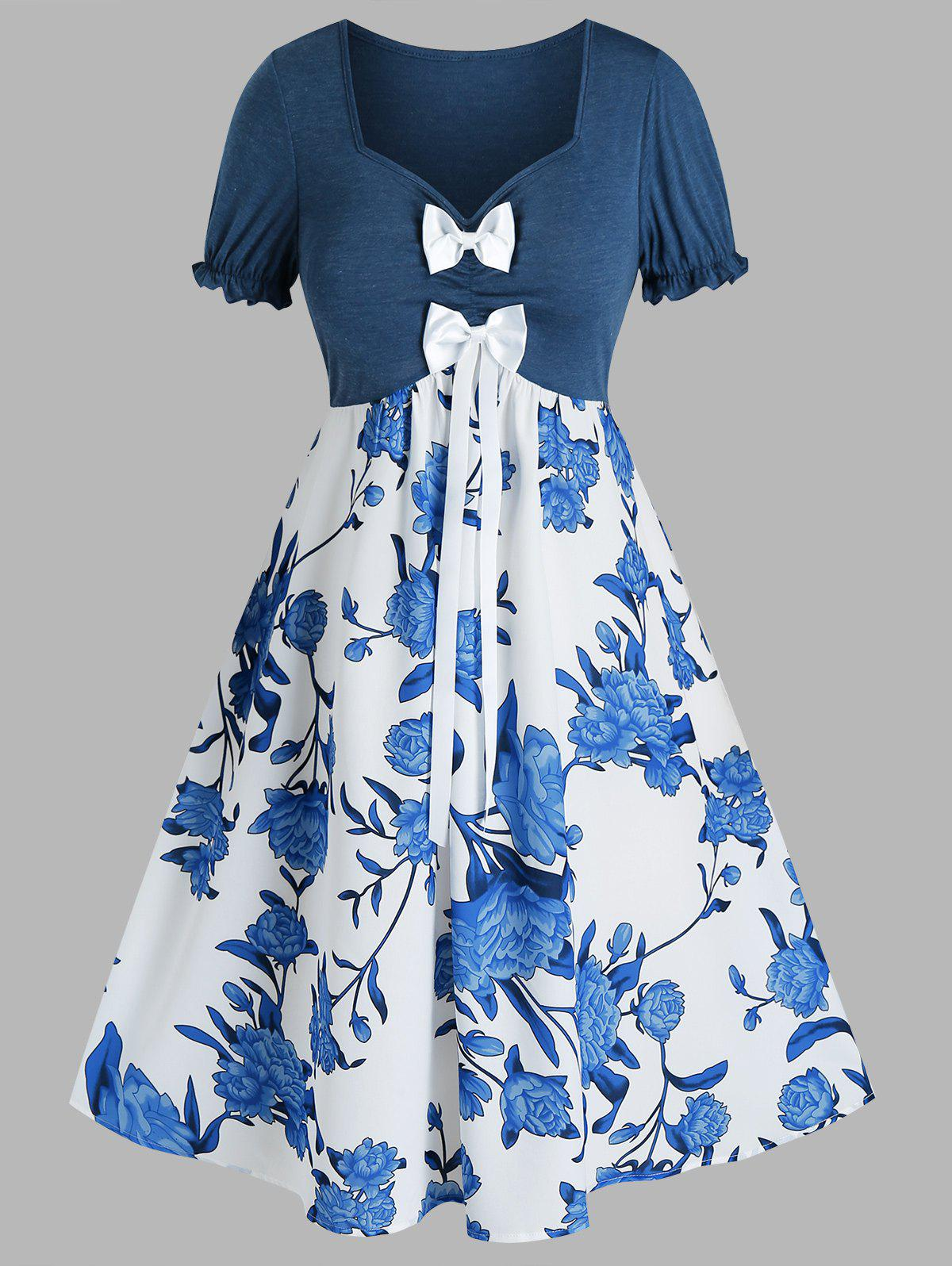 Best Plus Size Flower Bowknot Ruched Sweetheart Neck Dress