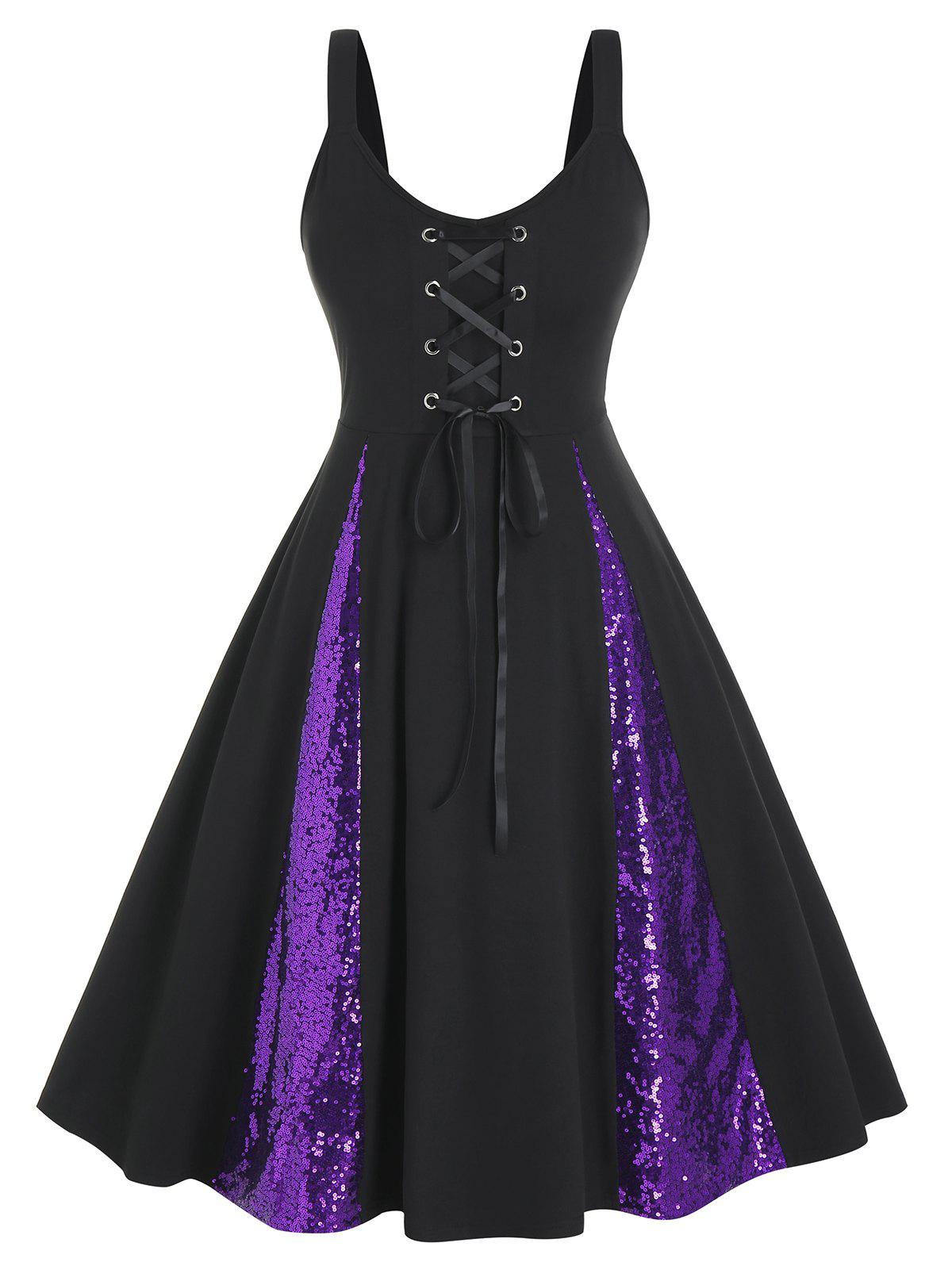 Hot Plus Size Sequined Two Tone Lace-up A Line Dress