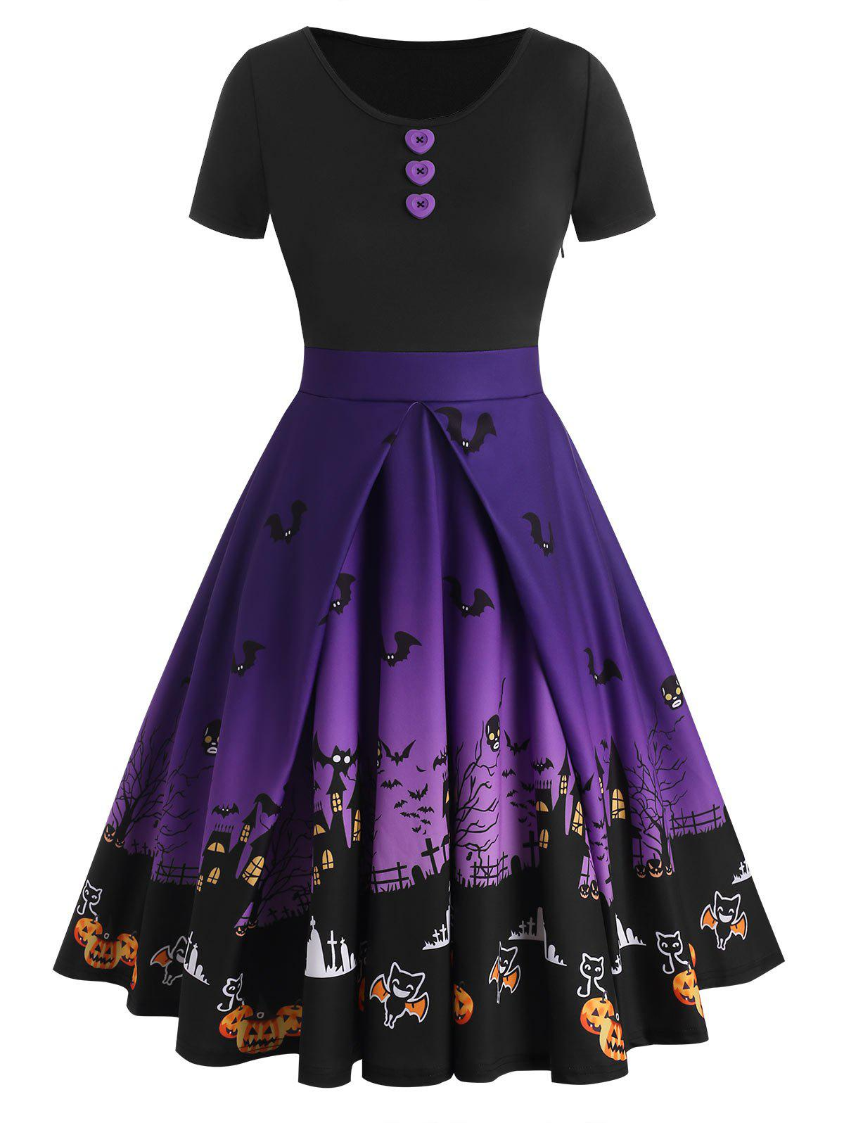 Outfit Buttons Halloween Bat Pumpkin Castle Print Dress