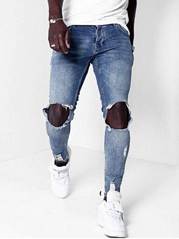 Distressed Destroy Wash Ripped Taped Jeans - BLUE - XL