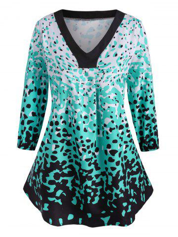 Leopard Ruched Curved Hem Plus Size Blouse - GREEN - 4X
