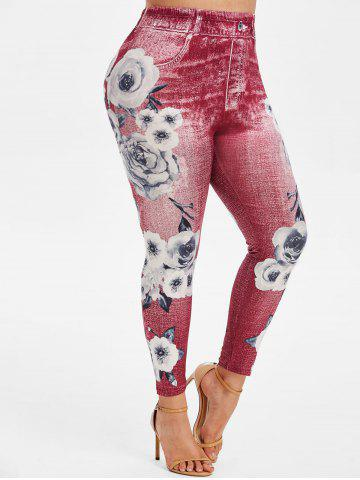 High Waisted 3D Print Floral Plus Size Jeggings