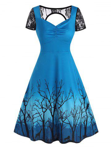 Lace Panel Cutout Branch Print A Line Dress