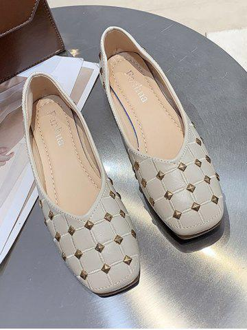 Square Toe Rivet Check Pattern Flat Shoes - BEIGE - EU 39