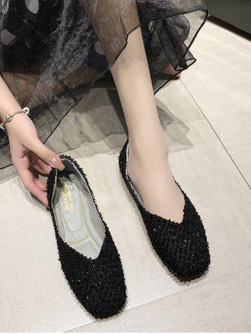 Square Toe Textured Slip On Flat Shoes - BLACK - EU 41