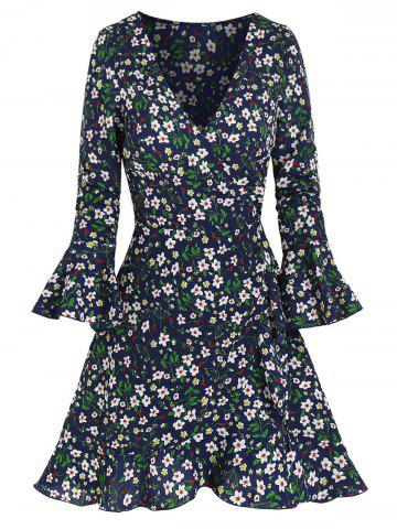 Poet Sleeve Floral Print Mini Wrap Dress