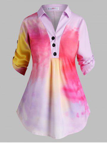 Button Front Tab Sleeve Tie Dye Plus Size Top - LIGHT PINK - 2X