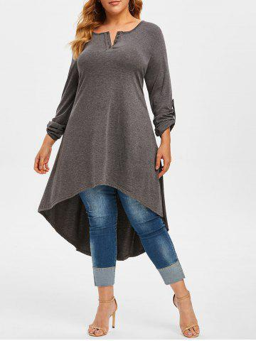 Plus Size High Low Roll Up Sleeve T Shirt - GRAY - 1X