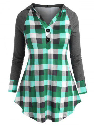 Two Buttoned Plaid Raglan Sleeve Plus Size Hoodie - GREEN - 4X
