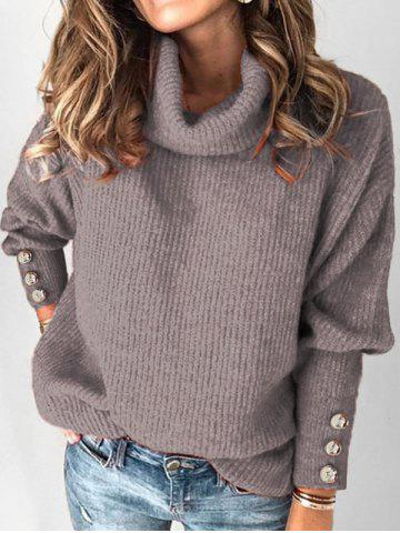Plus Size Turtleneck Drop Shoulder Buttoned Sweater - GRAY - 1X