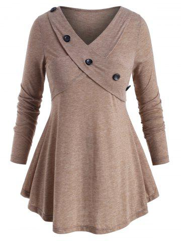 Mock Buttons Heathered Criss Cross Plus Size Top - LIGHT COFFEE - 4X