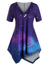 Plus Size Galaxy Button Ruched Collar Top -